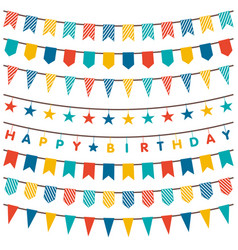 colorful bunting and garland set vector image vector image