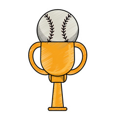 drawing baseball winner cup prize vector image vector image