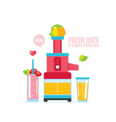 mixer juice fresh fruits and vegetables kitchen vector image