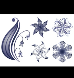 navy flowers vector image vector image