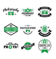 photography logos badges and labels design vector image