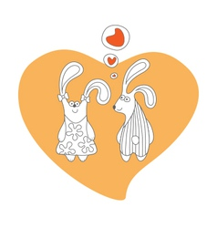 Rabbits in love cartoon isolated vector image