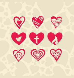 set of hearts and christian symbols vector image