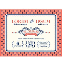 Typography Wedding invitation frame template vector image
