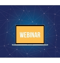 webinar concept with laptop and text vector image vector image