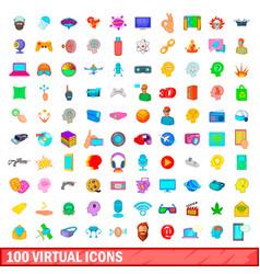 100 virtual icons set cartoon style vector