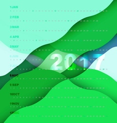 2017 calendar on green abstract background vector