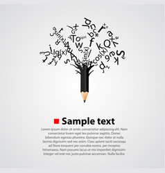 abstract tree with black letters vector image