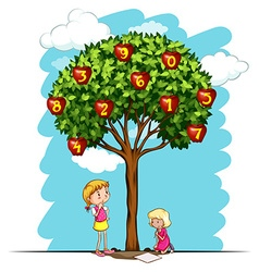 Apple tree with numbers vector