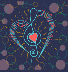 Background of musical treble clef vector