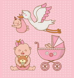 bashower card with pink cart and storck vector image