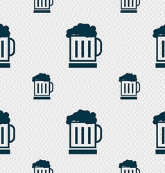 Beer glass icon sign Seamless pattern with vector