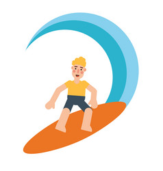 blond man surfing on waves flat vector image