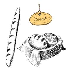 Bread hand drawn set vector