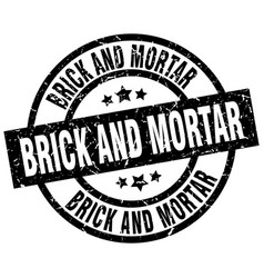 Brick and mortar round grunge black stamp vector