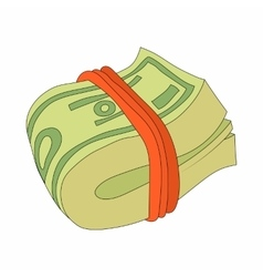 Bundle of dollars icon in cartoon style vector