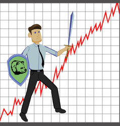 Businessman with sword and shild on graph vector