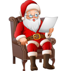 Cartoon santa sat in a chair and read a letter vector