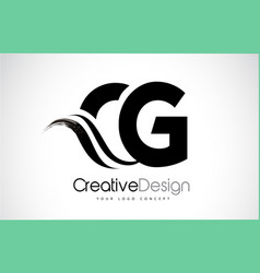 Cg c g creative brush black letters design with vector