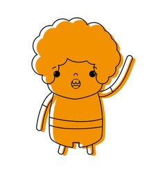 Color boy with curly hair and amazed face vector