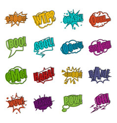 Comic colored sound icons doodle set vector