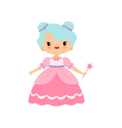 cute little fairytale princess girl in pink dress vector image