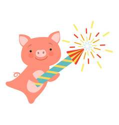 Cute piglet with a party popper lovely cartoon vector