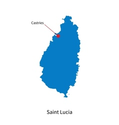 Detailed map of saint lucia and capital city vector