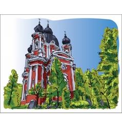 Digital sketch of curchi monastery vector image
