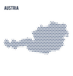 dotted map of austria isolated on white background vector image
