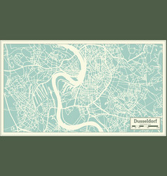 dusseldorf germany city map in retro style vector image