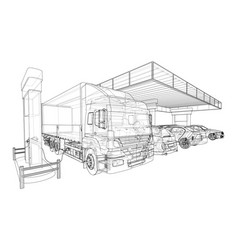 electric car charging station with cars and truck vector image