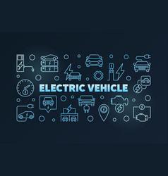 electric vehicle outline blue banner ev vector image