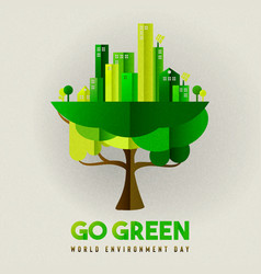 Environment day card eco friendly city in tree vector