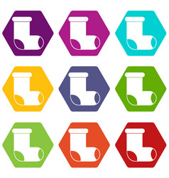 felt boot icon set color hexahedron vector image