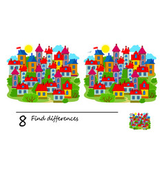Find 8 differences a town and houses logic vector