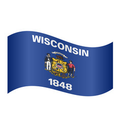flag of wisconsin waving on white background vector image