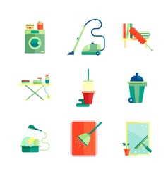 Flat housekeeping icons set vector