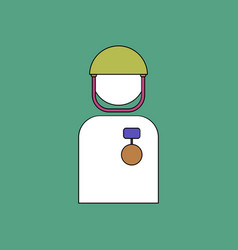 Flat icon design collection soldier with medal vector
