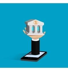 Flat isometric mobile banking concepts vector image