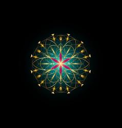 flower life symbol sacred geometry gold logo vector image