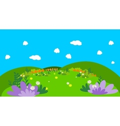 Flower on forest lanscape vector