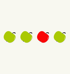 green and red apple set line in a row healthy vector image