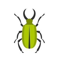 Green bug icon flat style vector