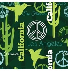 Green California Animals Travel Seamless vector