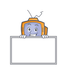Grinning with board tv character cartoon object vector