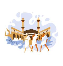 hajj islamic pilgrimage in holy mecca pilgrims vector image