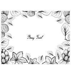 Hand drawn frame of cloudberries and chinese mulbe vector