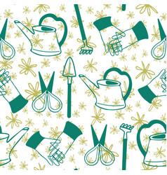 hand drawn green art terrarium gardening tools on vector image