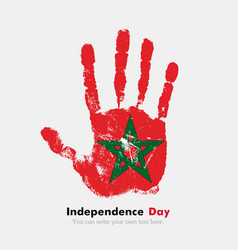 Handprint with the Flag of Morocco in grunge style vector